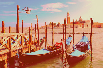 Two gondolas on the San Marco canal  in Venice in instagram styl