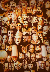 Big amount of traditional venetian carnival masks