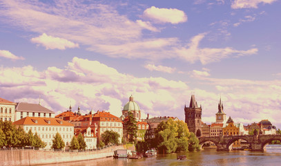 Charles Bridge in Prague on a sunny day Czech Republic. The capi