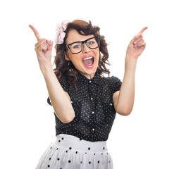 Cheerful happy young woman gesturing