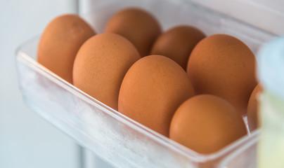 Eggs in refrigerator shelf
