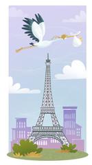 cigüeña de Paris con bebe