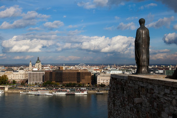 Bronze Statue and Budapest City View from Buda