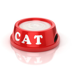 cat bowl full of milk 3d illustration