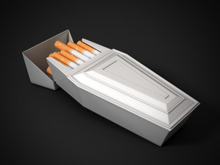 pack of cigarettes as funeral coffin - smoking kills 3d concept