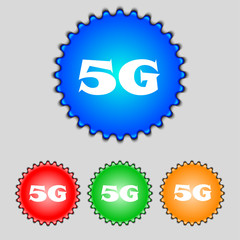 5G sign icon. Mobile telecommunications technology symbol.  Set