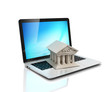 e-banking, e banking, laptop with bank 3d icon