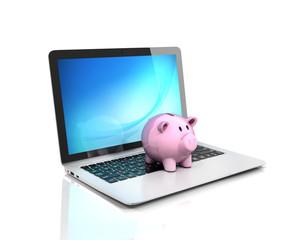 online banking - piggy bank on laptop