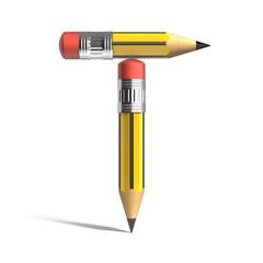 pencil 3d font letter t