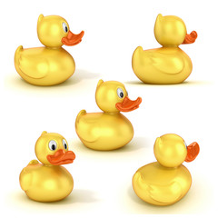 rubber duck various views 3d illustration