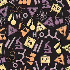 chemistry color icons dark pattern eps10