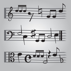 black music sheet note icons set eps10