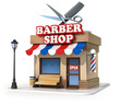 miniature barbershop 3d illustration