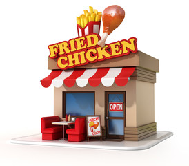 fried chicken restaurant 3d illustration