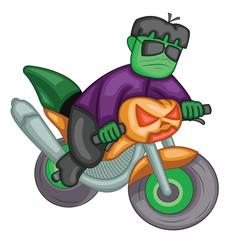 Frankenstein riding pumpkin lantern bike