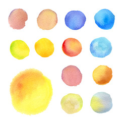 set of round watercolor stains