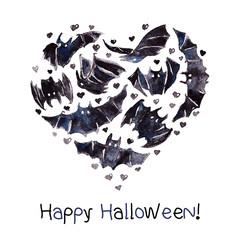 Bats Heart Illustration Vector Waterolor Happy Halloween.