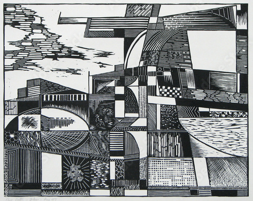 a woodcut print of an abstracted cityscape Plakát