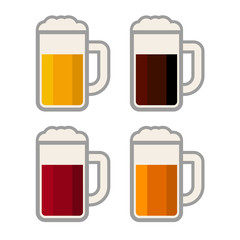 Four Glasses with Different Color Beers on White Background.