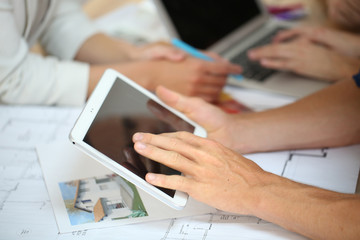Closeup on digital tablet screen