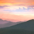 Colorful Sunset in the  Carpathians Mountains