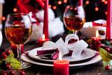 Christmas dishware on the table - 72319705