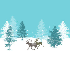 Christmas background, pine forest and deer