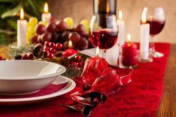 Christmas dishware on the table