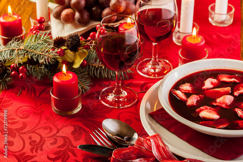 Christmas red borscht with meat filled dumplings - 72319998