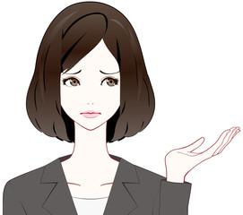 スーツの女性 紹介 困り顔