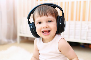 toddler listening to music
