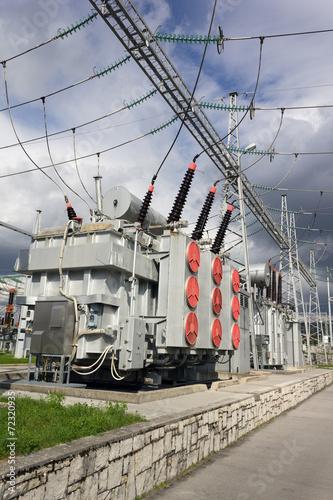 Staande foto Industrial geb. Electric power transformers