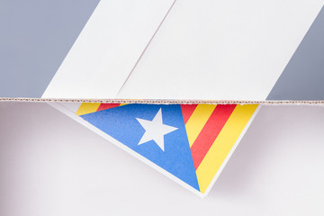 Inside and exterior voting box catalonia independence