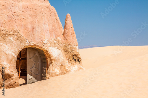 Foto op Canvas Tunesië Set for the Star Wars movie still stands in the Tunisian desert