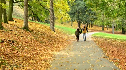 happy couple walking in park - couple holding hands  -park