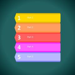 five steps arrows for presentations.