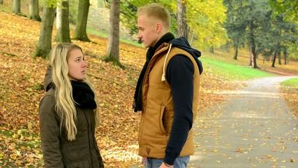 concept - domestic violence - unhappy couple - couple argue