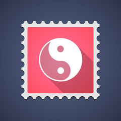Mail stamp icon with a ying yang sign