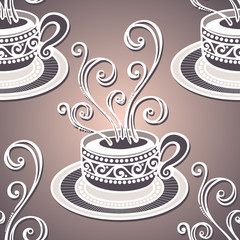 Seamless Pattern with Decorative Cups of Coffee (Vector)