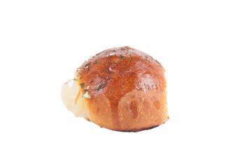 freshly baked roll isolated on white background