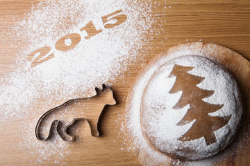 Inscription 2015 with a form a fox and a gingerbread Christmas t