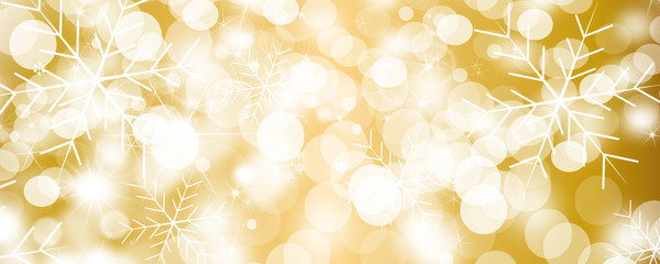 christmas background snow stars gold