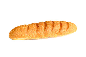 Fresh Yellow Baguette Isolated on White Background