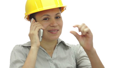 Woman Hardhat Phone Wait Little Bit