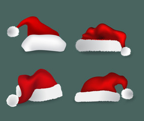 Various Christmas caps. Vector collection