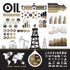 Oil industry - vector infographic elements plus 32 icons.