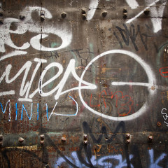 Extreme close up of graffiti on wood door