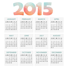 Calendar 2015 with polygon headline, vector illustration
