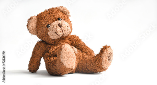 Leinwanddruck Bild Teddy bear isolated on white