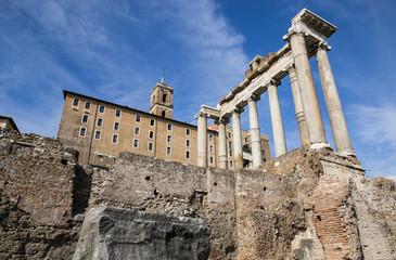 Foro romano, tempio di saturno e palazzo senatorio - Roma